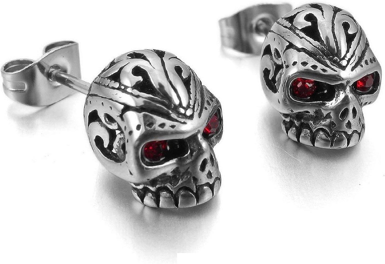 Skull Cool Earrings Studs Stainless Steel Red Zircon for Men Jewelry - Skullcandy Earring