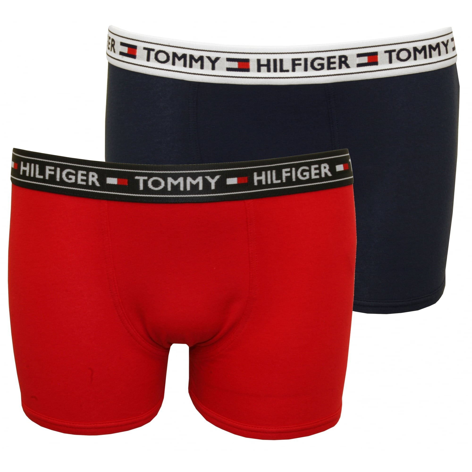 Tommy Hilfiger Boy's 2-Pack Modern Logo Boys Boxer Trunks, Red/Navy Age 8-10 Red/Navy