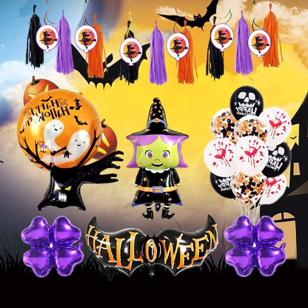 Confetti Orange Black Purple Eyeball Skull Balloon for Halloween Theme Birthday Haunted House Party Halloween Balloon Garland Arch Kit Boo Balloon
