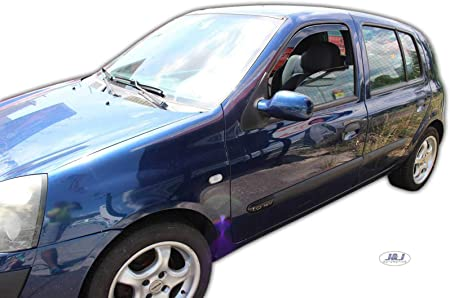 J J Automotive Windabweiser Regenabweiser Für Clio Ii Thalia 2001 2005 2tlg Heko Dunkel Auto