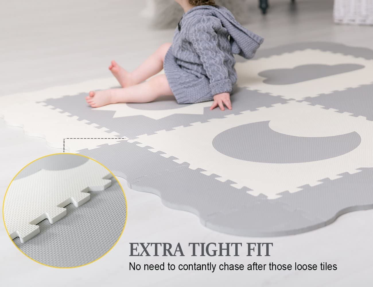 Non Toxic Thick Floor Mat for Kids Baby Play Mat Tiles Grey /& White Interlocking Foam Playroom /& Nursery Playmat Safe /& Protective For Infants Tummy Time 61 x 61 Extra Large