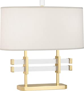 product image for Robert Abbey 849 Plexus - Two Light Table Lamp, Modern Brass/Lucite Finish with Pearl Dupioni Fabric Shade