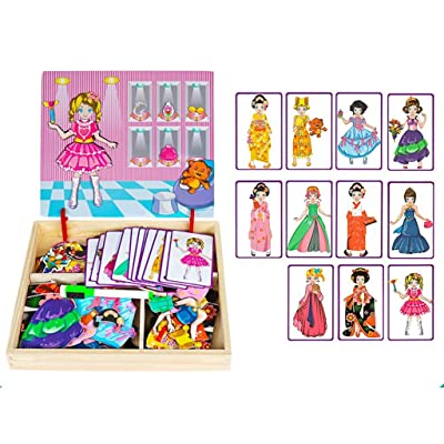 brain game Magnetic Puzzle Children's Intellectual Development Toy Multi-Function 3-6 Years Old 2 Boys and Girls Baby Kindergarten Early Education-Princess Dressup: Home & Kitchen