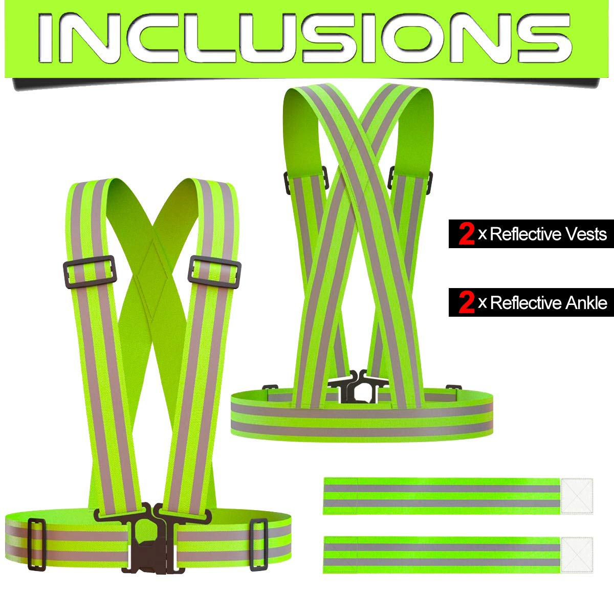 Jogging Walking KEYWELL Reflective Vest and Ankle Bands Set Green - High Visibility Adjustable Strap Gear Safety /& Lightweight for Running Fits over Outdoor Clothing Cycling 2 Set//4 pcs Hiking Fits Over Outdoor Clothing Walking