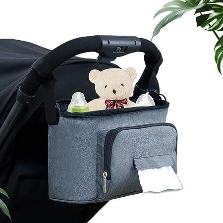 LinGear Bolsa Organizadora de Cochecito Ligero para Bebé y Madre Nueva, Bolsa de Hombro, Oxford Nylon Antibacterial, Gran Capacidad de Alcenamiento ...