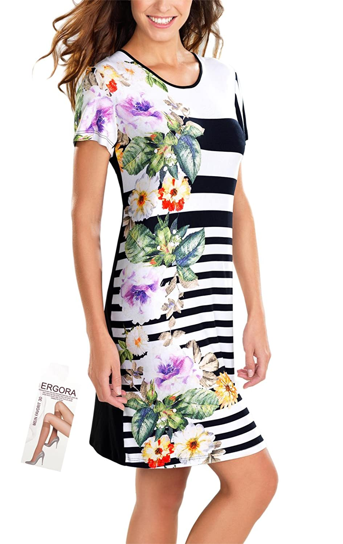 Cybele Damen Sommer Kleid Hauskleid Schwarz-Weiß-Bunt 6 Gr. 36 bis 46 Strandkleid Homewear Single-Jersey + 1 Paar Feinkniestrümpfe