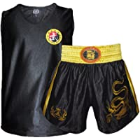 ZooBoo Adult Unisex Muay Thai Boxing Shorts Suit MMA Kick Boxing Uniform With Embroidered Dragon Fighting Uniforms