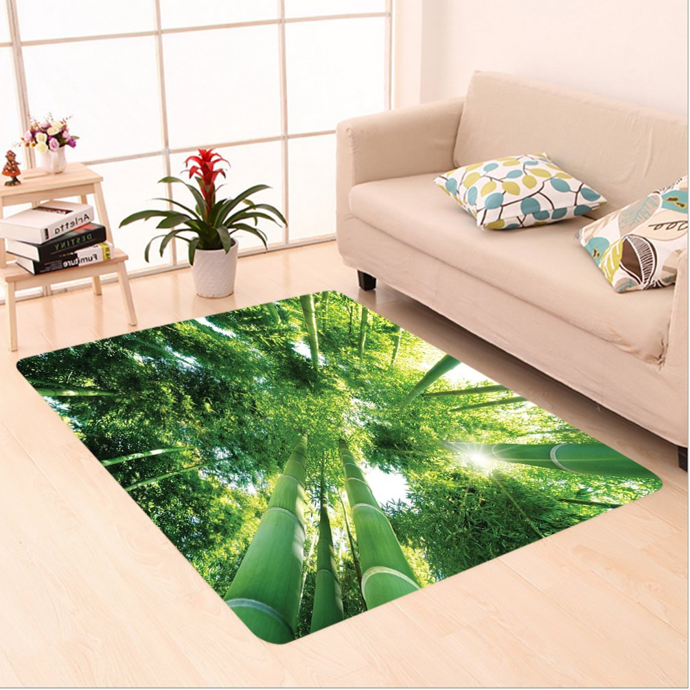 Nalahome Custom carpet on Low Angle View of Bamboo Tree Tops Asian Zen Tranquil Lands Jungle Meditation Spa Theme Green area rugs for Living Dining Room Bedroom Hallway Office Carpet (6' X 9')