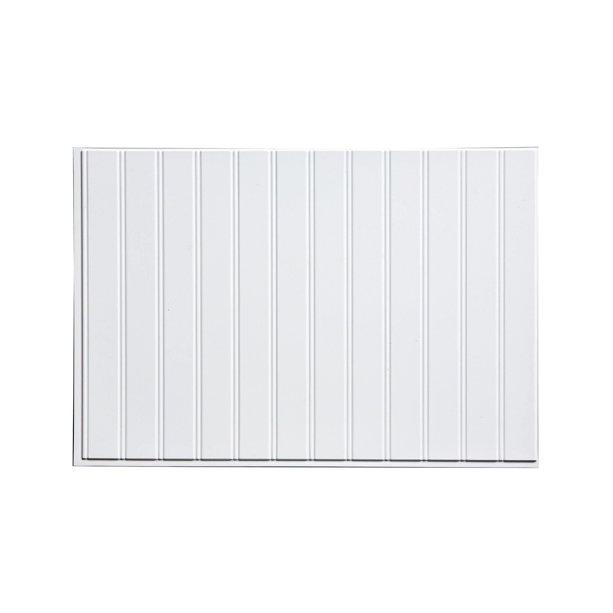 Fasade Easy Installation Bead Board Gloss White Decorative Vinyl Backsplash Panel (18'' x 24'' Panel)
