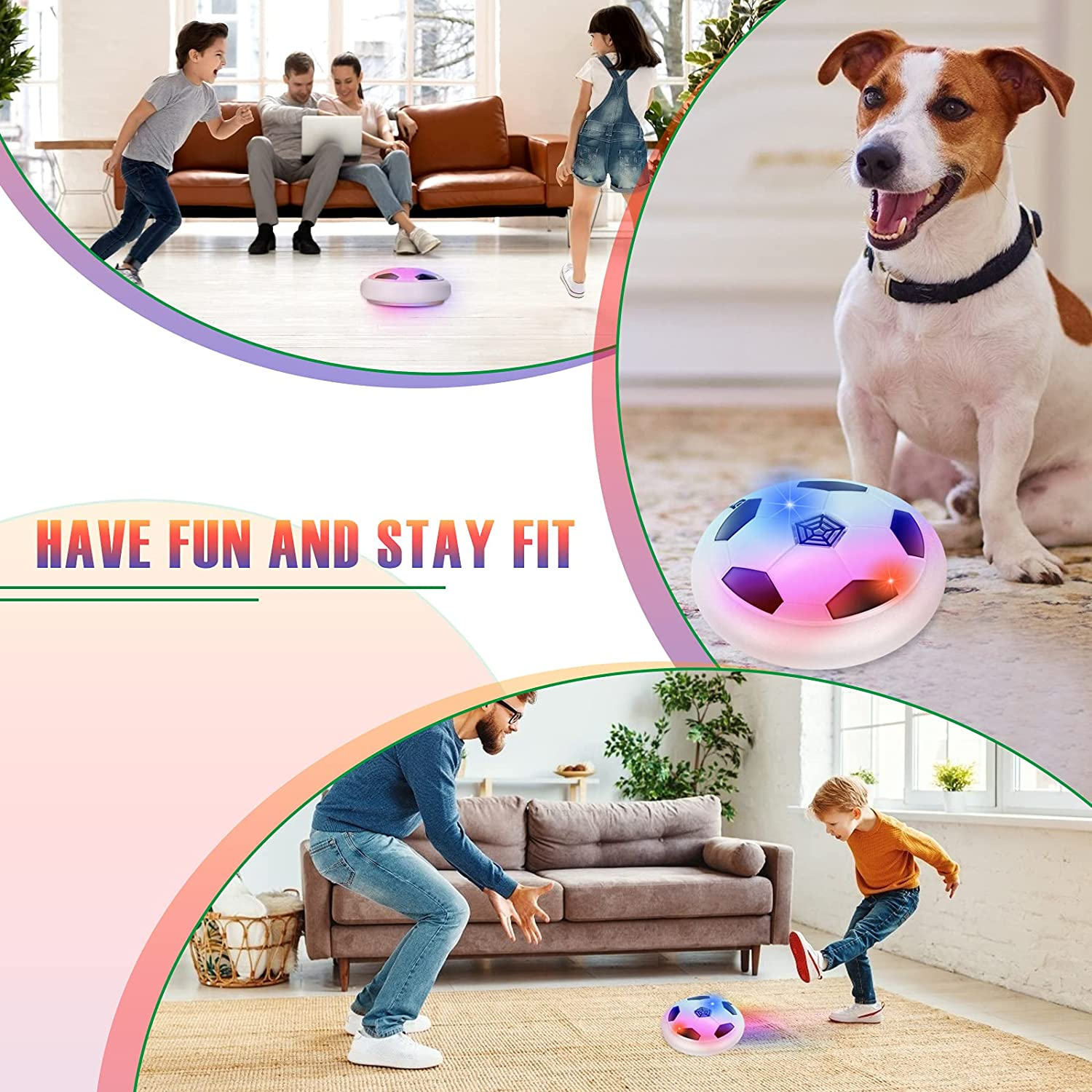 Dolanus Boy Toys for Hover Soccer Ball LED Lights and Soft Foam Bumpers Kids Toy Gifts