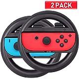 ABMSNO Racing Games Steering Wheel Grip-Suitable for Nintendo Switch Mario Kart, Joy-Con Steering Wheel, Black & Black…