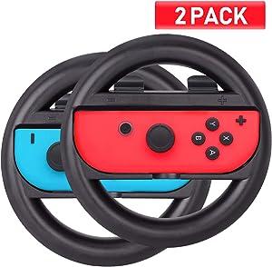 ABMSNO Racing Games Steering Wheel Grip-Suitable for Nintendo Switch Mario Kart, Joy-Con Steering Wheel, Black & Black (Kids Edition)