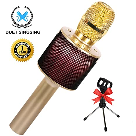 Wireless Bluetooth Karaoke Microphone for Kids Adults Family Singing with  LED Lights Speaker Holder for iPhone Android iPad PC Portable Microphones