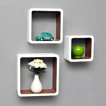 Hängeregal weiß  3er Set Lounge Cube Regal Design Retro 70er Wandregal Hängeregal ...