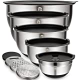 Mixing Bowls Set of 5, Wildone Stainless Steel Nesting Bowls with Airtight Lids, 3 Grater Attachments, Measurement Marks…