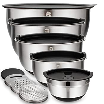 Wildone 5-piece Set Of Stainless Steel Mixing Bowls