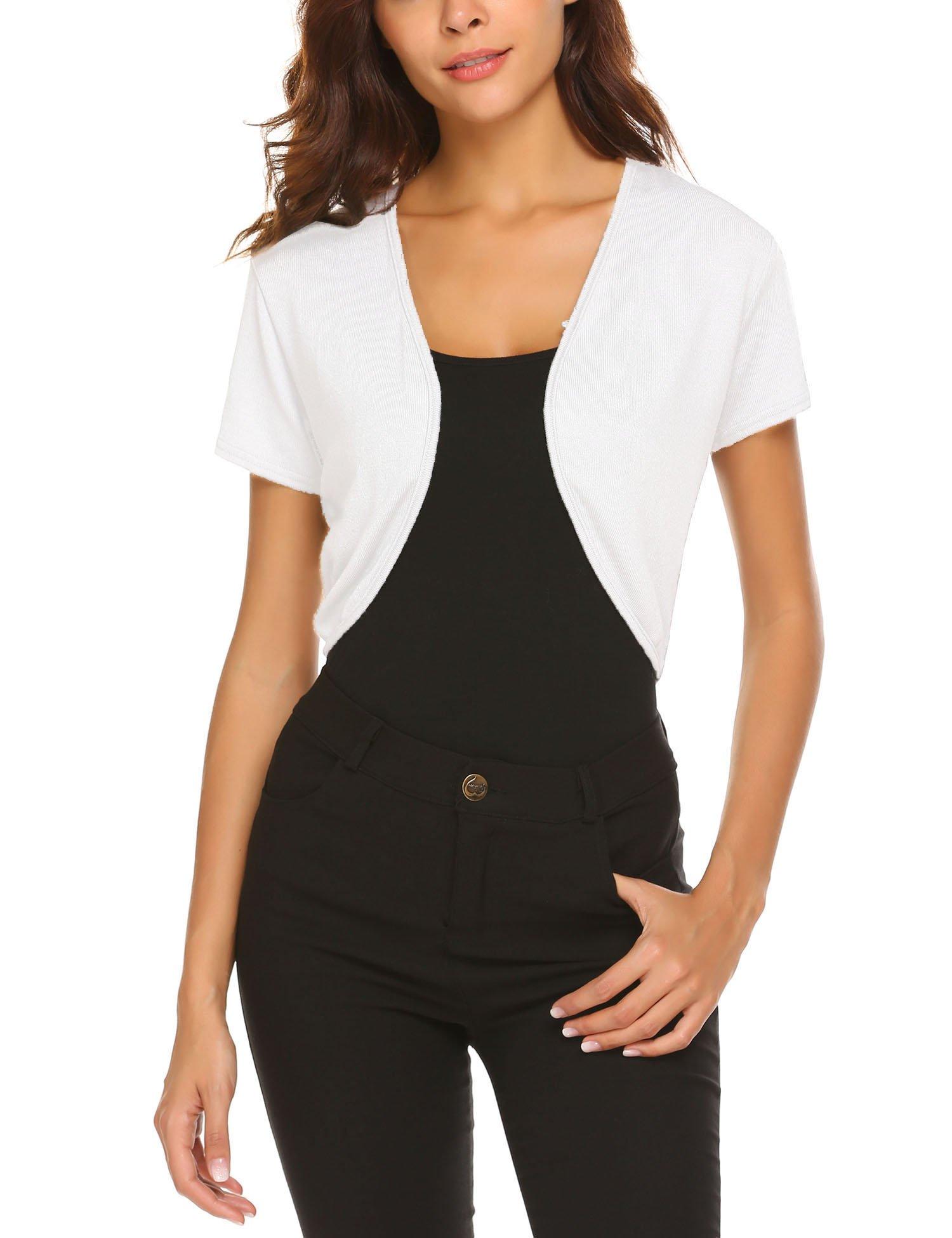 HOTOUCH Women Open Front Cardigan Short Sleeve Cropped Bolero Shrug White M