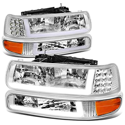 4PCS Chrome Amber Corner LED DRL Headlight Bumper Turn Signal Lamps Replacement for Chevy Silverado Suburban Tahoe 99-06: Automotive