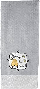 "Design Imports Honey Bee Embellished Cotton Dishtowels 18-Inch by 28-Inch, ""Honey I'm Home!"" – Gray, Set of 2"