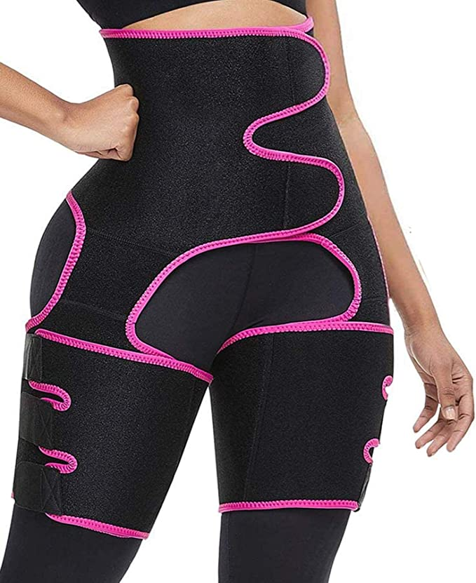 High Waist Adjustable Elasticity Slimming Shapewear Waist Belt Waist Thigh Trimmers for Women Locsee Waist Trainer 3 in 1 Hip Lift Sport Workout Girdle Belt