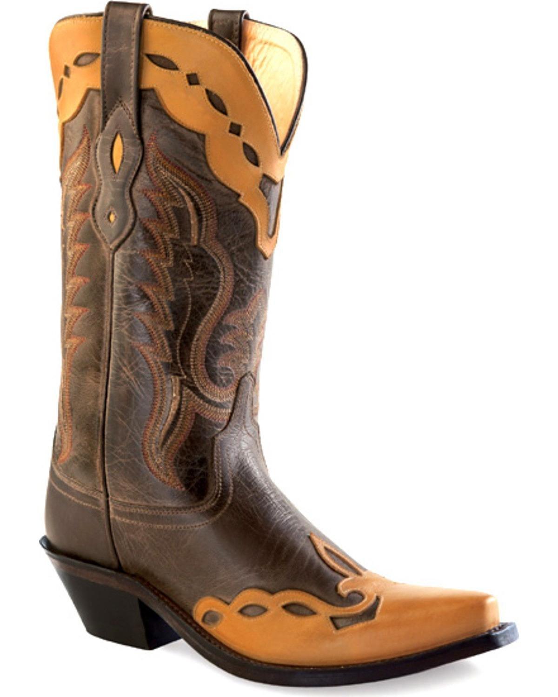 Old West Women's Overlay Western Boot Snip Toe - Lf1538 B00UWV2I3Y 6.5 M US|Brown