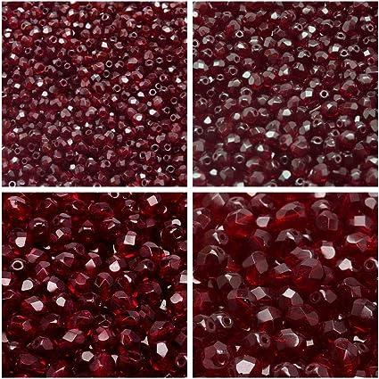 50 perles en verre ronde 4mm irisé rouge ////8