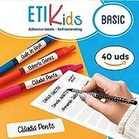 ETIKids 40 Étiquettes adhésives laminées personnalisables polyvalentes (basic) pour la garderie et l'école.
