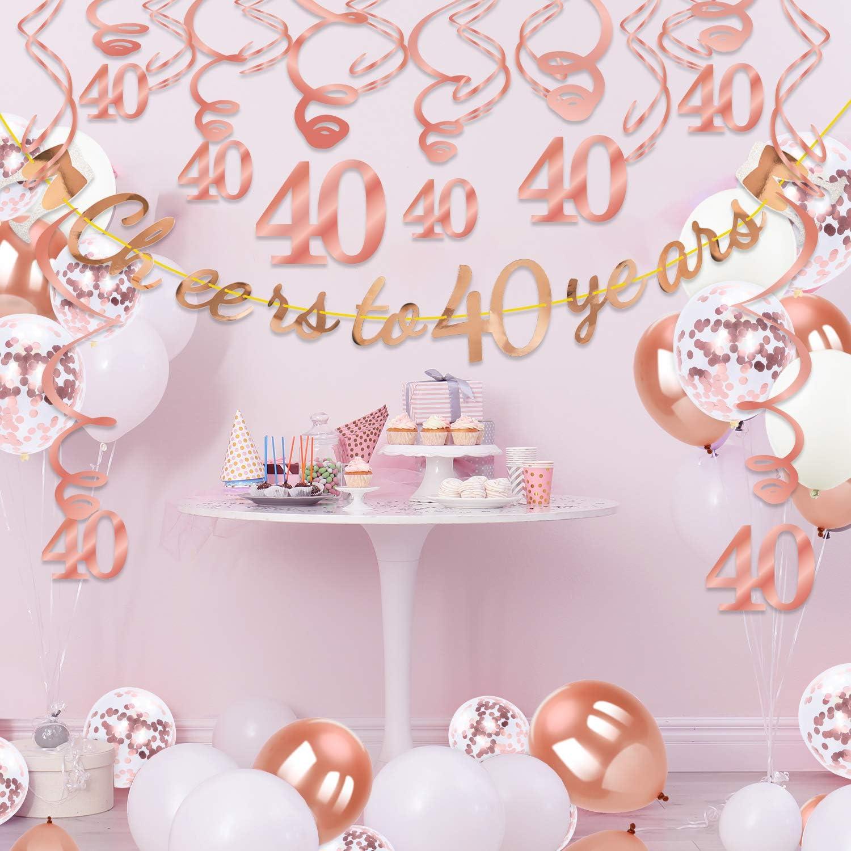 40 Anni di Banner in Oro Rosa 30 Pezzi Rosa turbinii appesi Rosa Palloncini in Lattice e coriandoli 50 Pezzi per 40 /° Anniversario di Matrimonio Qpout Decorazione per la Festa del 40 /° Compleanno