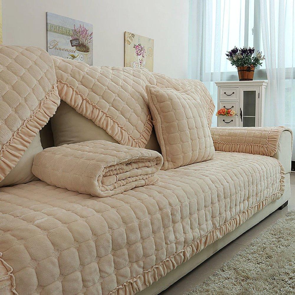 Plüsch Anti-rutsch Gesteppte möbel Protektoren für Haustiere Kinder Hund Sektionaltor slipcovers l Form U-Form Volltonfarbe Waschbar Sofa Cover-1 stück-C 43x83inch(110x210cm)