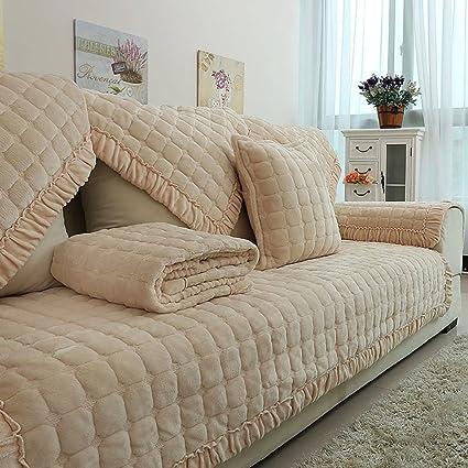 Amazon.com: Plush sofa slipcover,[winter] Combination ...