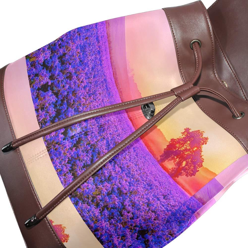 PU Leather Shoulder Bag,Lavender Farm Backpack,Portable Travel School Rucksack,Satchel with Top Handle