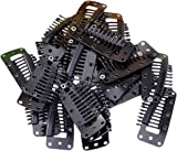 20pcs Black 10-Teeth Snap-Comb Wig Clips with Rubber for Hair Extension