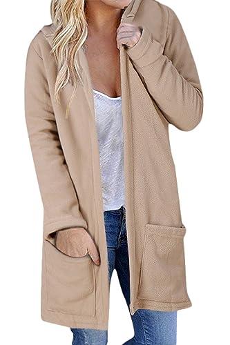 La Mujer Casual Con Capucha Sudadera Capucha Sólido Frente Abierto Sueltas Abrigos Con Bolsillo