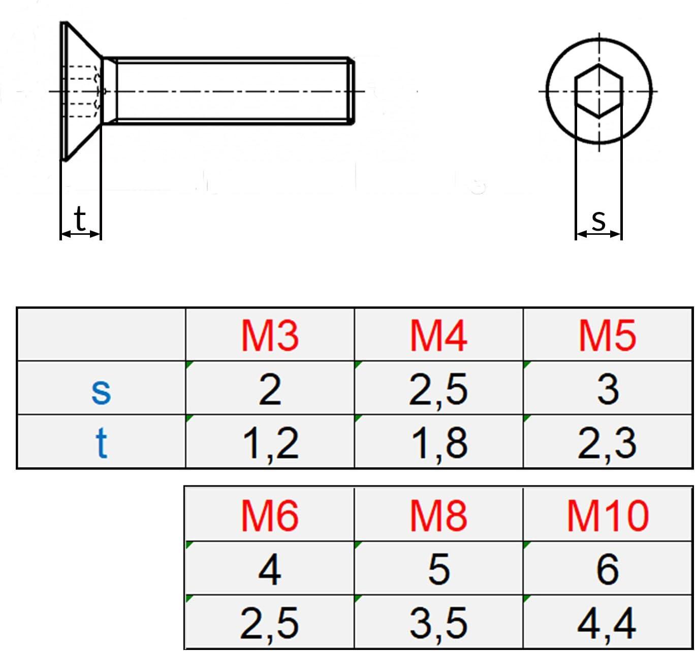 10 Senkkopfschrauben mit Innensechskant Edelstahl M 6 x 35 mm Vollgewindeschrauben Schrauben DIN 7991 A2