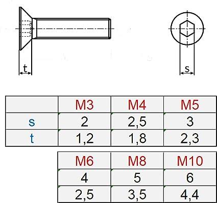 50 Senkkopfschrauben mit Innensechskant Edelstahl M 5 x 16 mm Vollgewindeschrauben Schrauben DIN 7991 A2