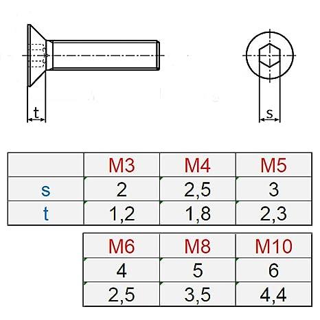 10 Senkkopfschrauben mit Innensechskant Edelstahl M 6 x 16 mm Vollgewindeschrauben Schrauben DIN 7991 A2