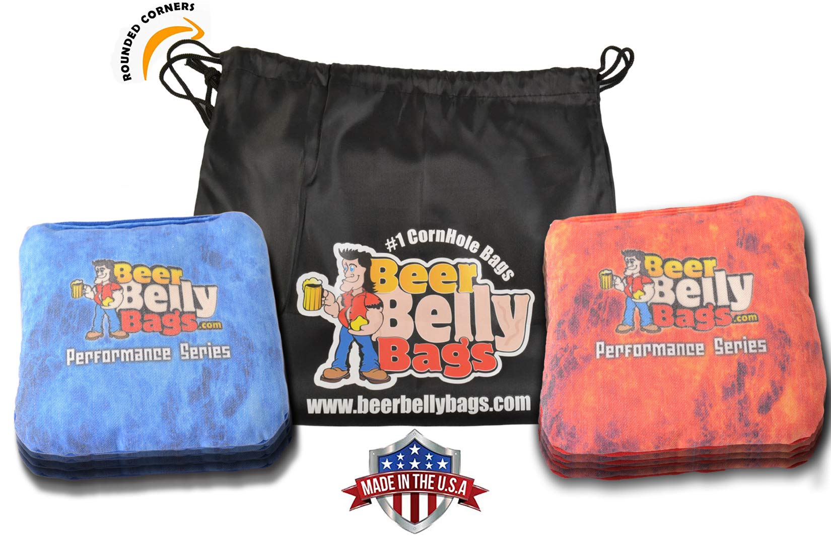 Beer Belly Bags Cornhole - Performance Series 8 Bags ACL Approved Resin Filled - Double Sided - Sticky Side | Slick Side (Red/Blue Fire) by Beer Belly Bags