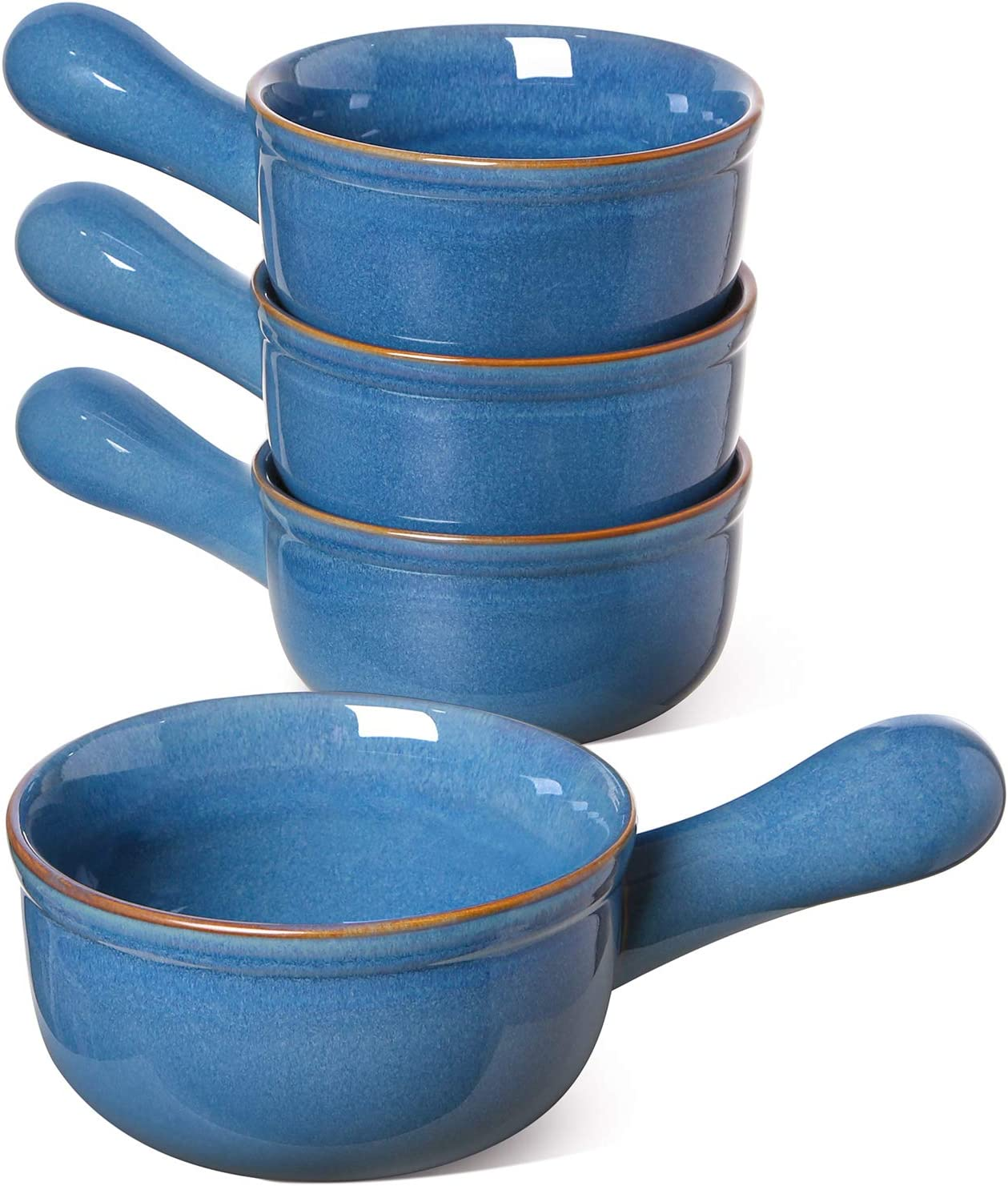 LE TAUCI 15 Oz Soup Bowls With Handles, French Onion Bowl for Soup, Chili, Beef Stew, Set of 4 - CEYLON BLUE