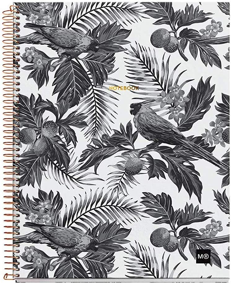 """Miquelrius Large 4 Subject Wirebound Notebook - Hardcover, (120 Sheets-240 Pages, Lined), 8.5"""" x 11"""" (Tropical B&W)"""