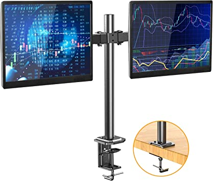 H HUANUOAV Dual Monitor Stand - Double Articulating Arm Monitor Desk Mount - Adjustable VESA Bracket with C Clamp, Grommet Mounting Base for Two 13-27 Inch LCD Computer Screens - Holds up to 17.6lbs