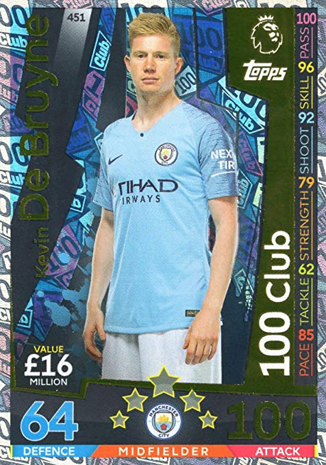 ac322f195 Image Unavailable. Image not available for. Color: MATCH ATTAX 2018/19  Kevin DE BRUYNE 100 Club Card - Man City ...
