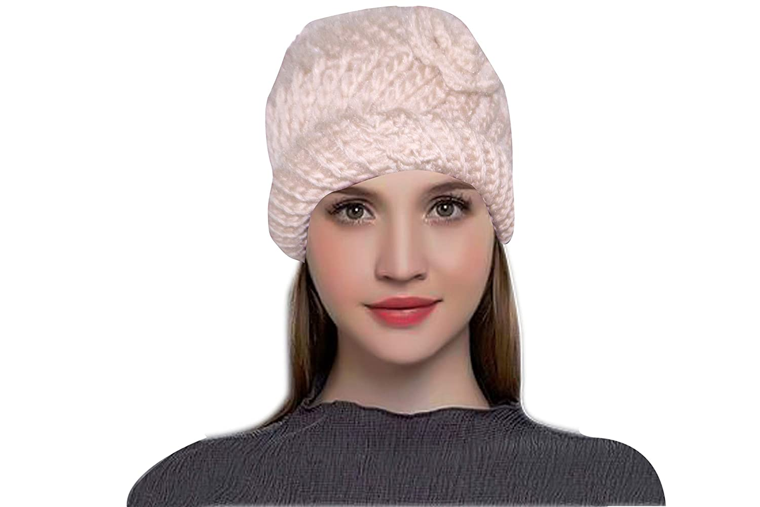 fb30aa80b5e MAGIC Knitted Beanie Skull Cap Warm Winter Woolen Cap for Women  (Off-White)  Amazon.in  Clothing   Accessories