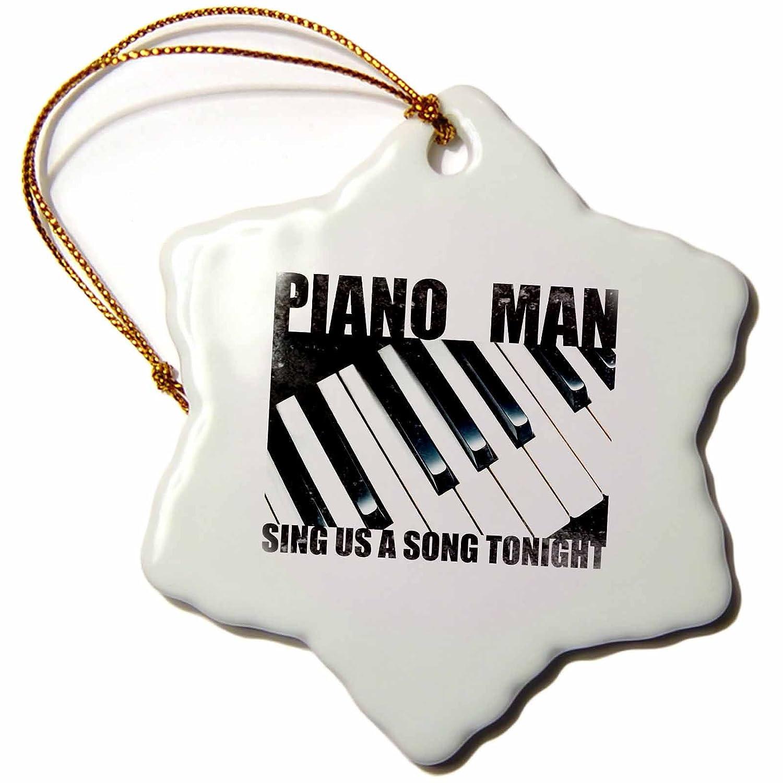 3dRose Piano Man Snowflake Ornament 3
