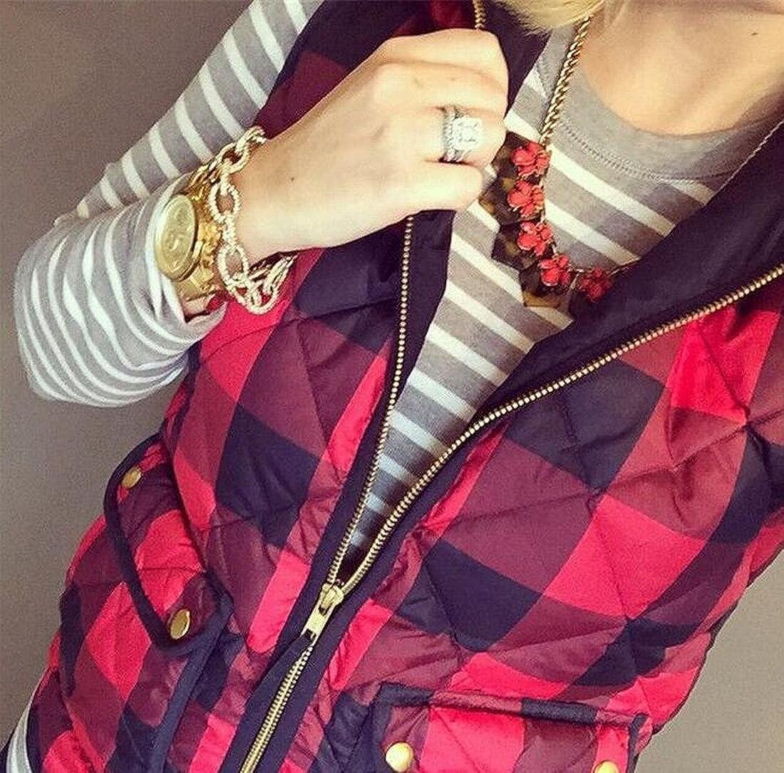 XQS Womens Zip-Up Sleeveless Plaid Cotton Vest Jacket Coat Red L