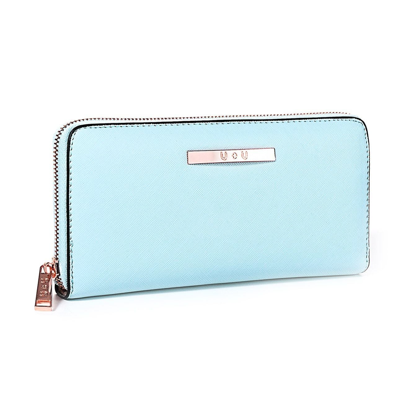 Womens Wallet Long Soft Leather Clutch Card Holder Zipper Purse(Blue)