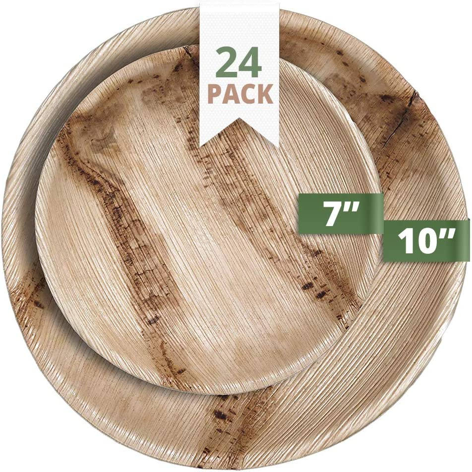 CaterEco Round Palm Leaf Plates Set | Pack Of 24 - (12) Dinner Plates and (12) Salad Plates | Ecofriendly Disposable Dinnerware | Heavy Duty Biodegradable Party Utensils for Wedding, Camping & More