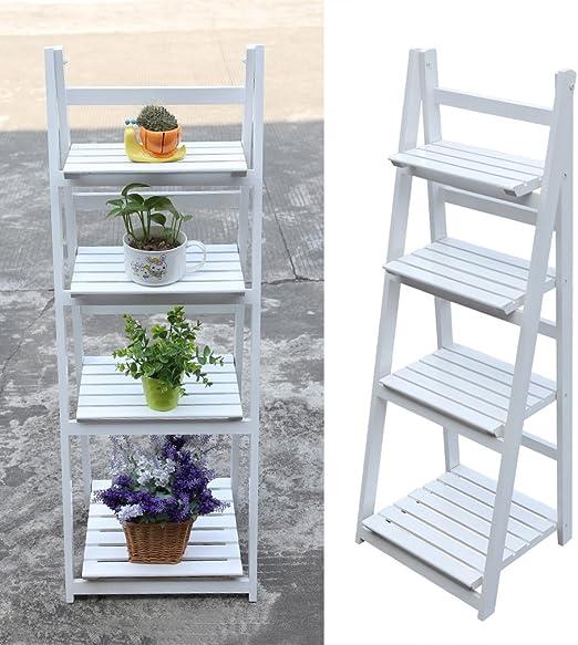 Estantería de escalera para flores de Homegrace, 4 niveles, de madera, plegable, blanco: Amazon.es: Jardín