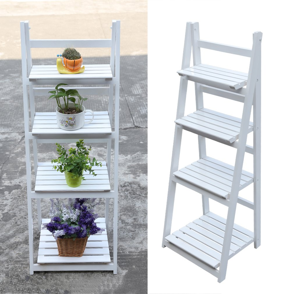 Homgrace Flower Shelf Ladder 4 Tier Wooden Garden Home Flower Balcony Shelf Ladder Display Free Standing Folding Flower Shelf Dish Rack Flower Stand (White)