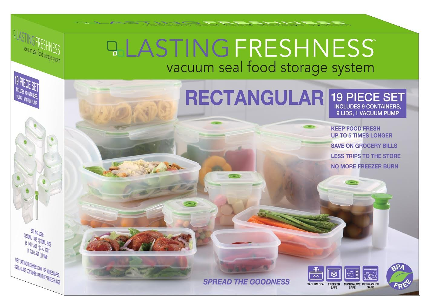 Charmant Amazon.com: Lasting Freshness 19 Pc Rectangular Vacuum Seal Food Storage  Container Set (in Green): Kitchen U0026 Dining