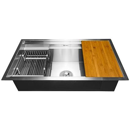 akdy 33 x 22 x 9 undermount handmade stainless steel single bowl rh amazon com space saver kitchen sinks uk space saving kitchen sink plumbing